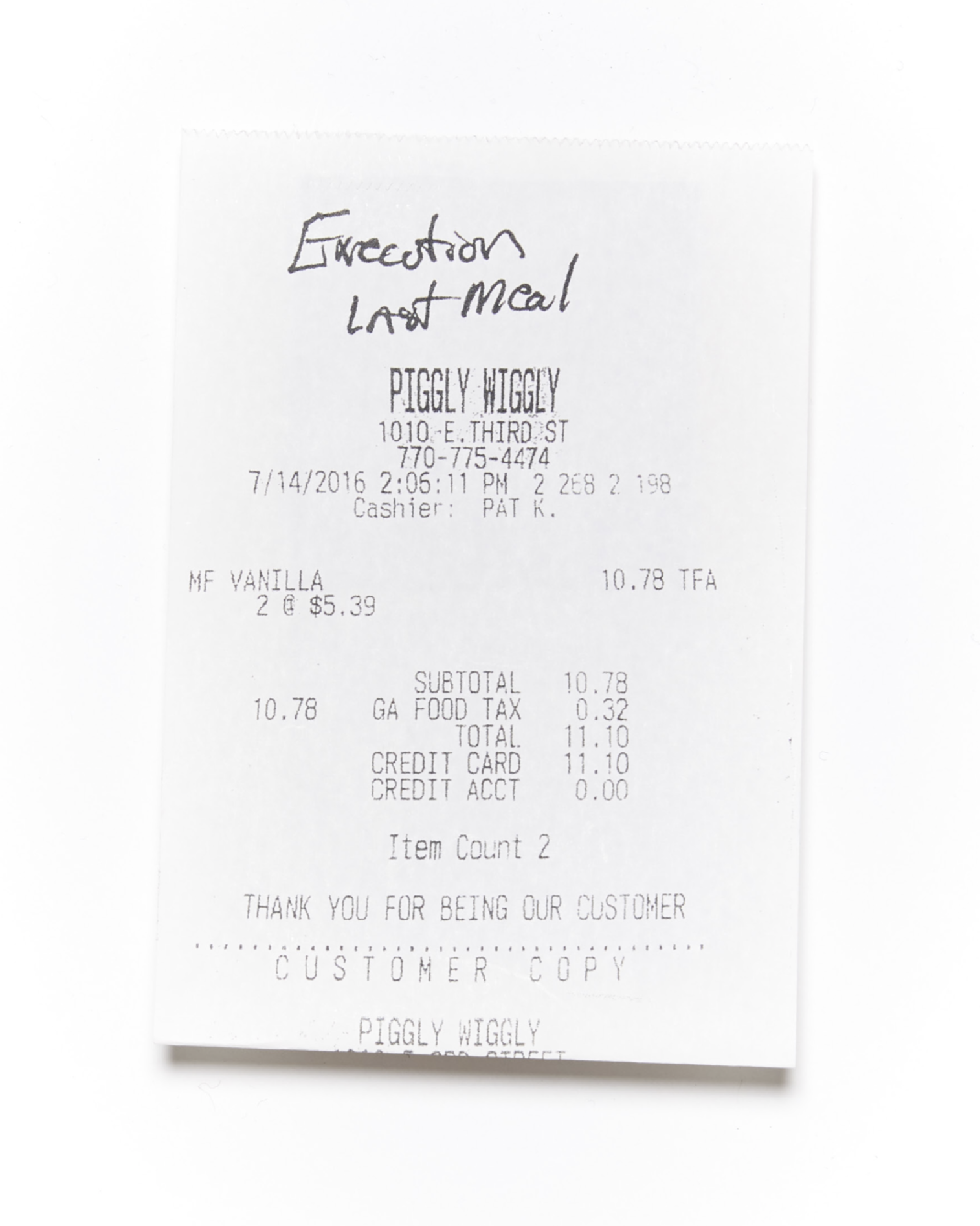 Last Meal Receipts