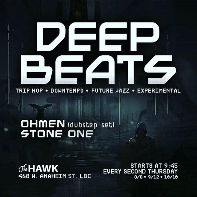 Reposted from @deepbeatscollective -  DEEP BEATS Thursday August 8th The Hawk @thehawkbar ... Selectors: OHMEN (Vinyl Dubstep Set) STONEONE @_ohmen_ @ogstoneone ... #triphop #downtempo #futurejazz #idm #beats #dubstep #experimental #jungle #breaks #deepbeats #longbeach #thehawk #monthly #losangeles #junglizm  flyer @22_befree merch @junglizmcrew