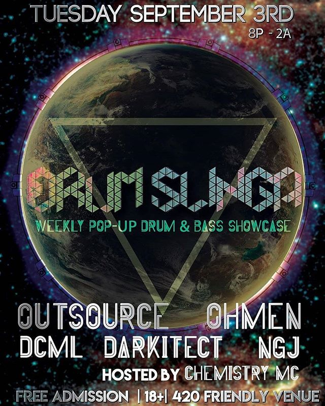 Reposted from @hiddenjunglela -  TODAY - Tuesday Sept. 3rd - innovative producer/dj @outsourcemusic joins us along w @_ohmen_ , @dcml.dnb and the crew at Drumslinga! Visit the new Drumslinga.com for details and to RSVP! 👀👀 🔊🔊🔊 💃🕺💥💥 #JUNGLIZMCREW #Ohmen #JunglizmLosAngeles #JungleMusic #Junglists #Drumslinga #LosAngeles #Underground #Party #Bass #Breaks #Amen
