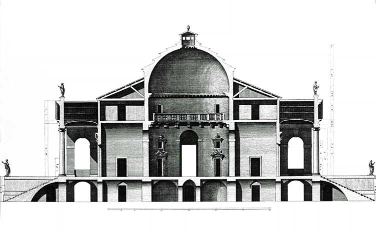 A section of Palladio's plan for Villa La Rotonda. Public domain image courtesy Wikimedia Commons.