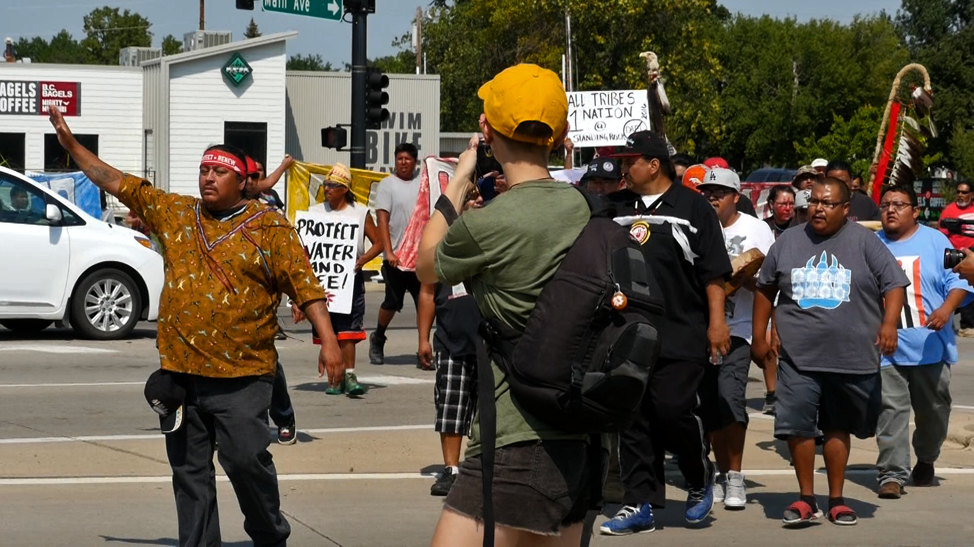 #NoDAPL protestors near the Memorial Bridge in Bismarck, ND.Photo by Mike Glatt.