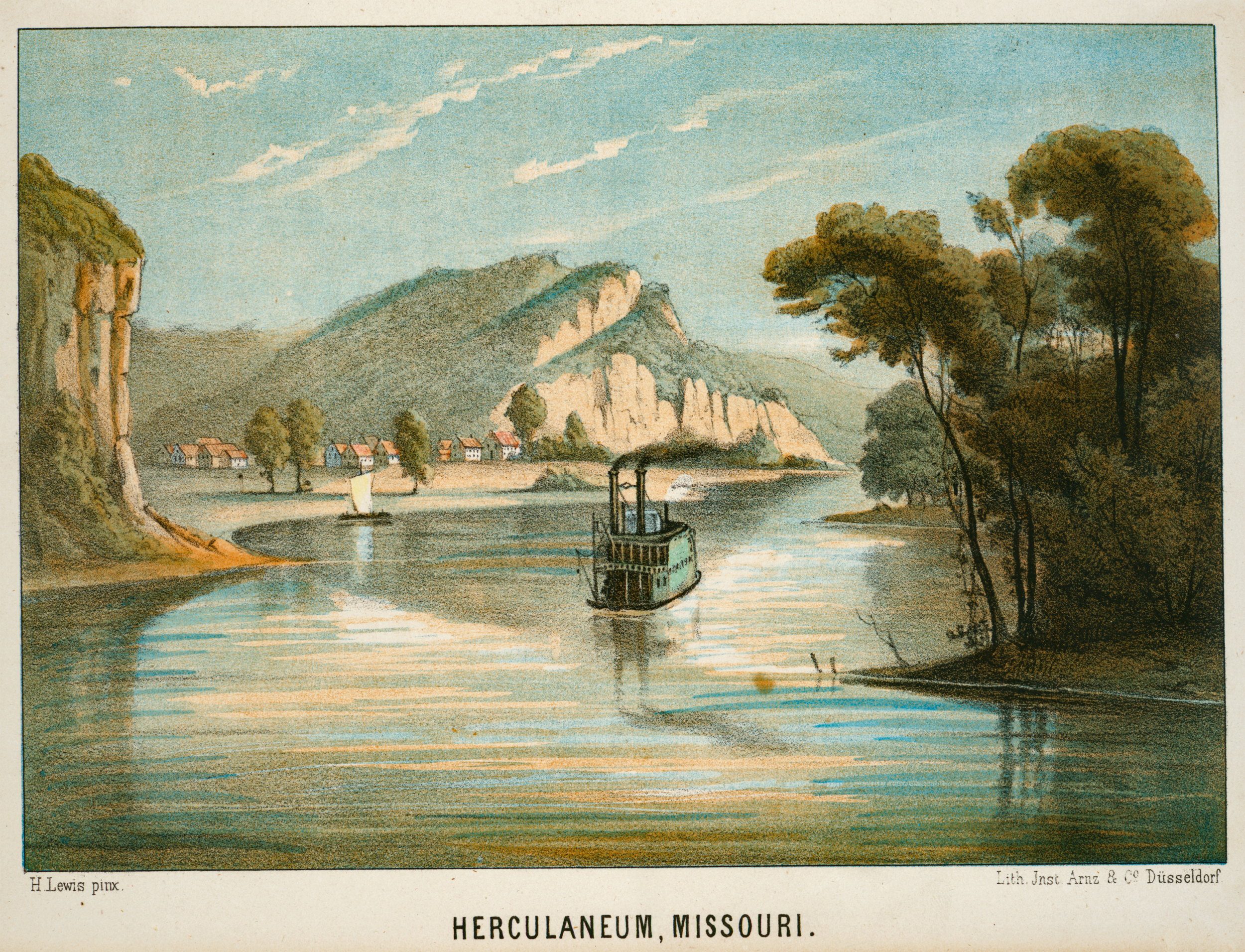 """""""Herculaneum, Missouri."""" 1854 - 1857. From the  New York Public Library Digital Collections ."""