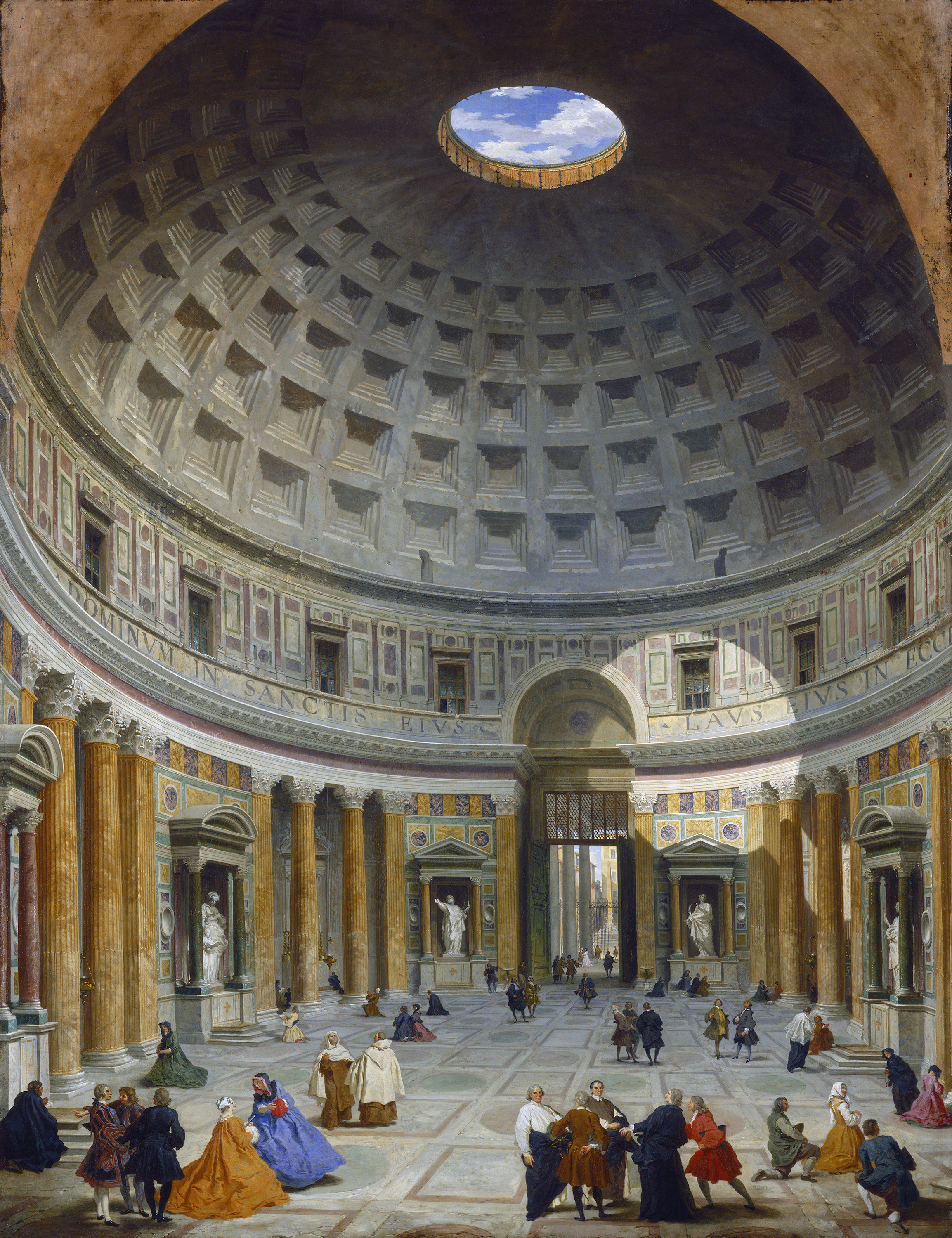 Interior of the Pantheon, Rome, c. 1734 by Giovanni Paolo Panini, public domain from the  National Gallery of Art .