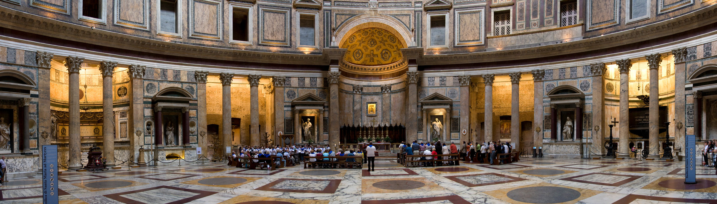 Panorama of the Pantheon, CC BY-SA 3.0 by Maros M r a z via  Wikimedia . Click to enlarge.