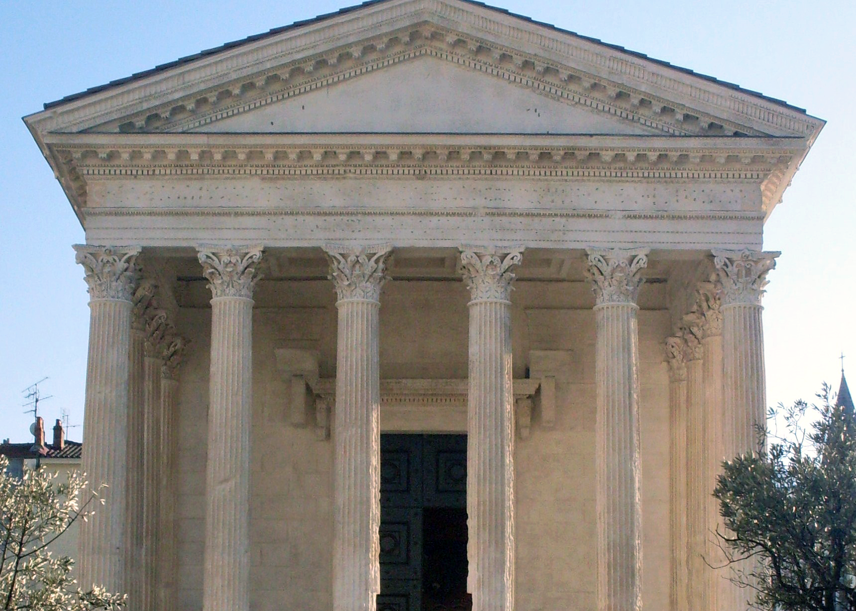 The  Maison Carrée . Photo by Danichou, public domain via  Wikimedia .