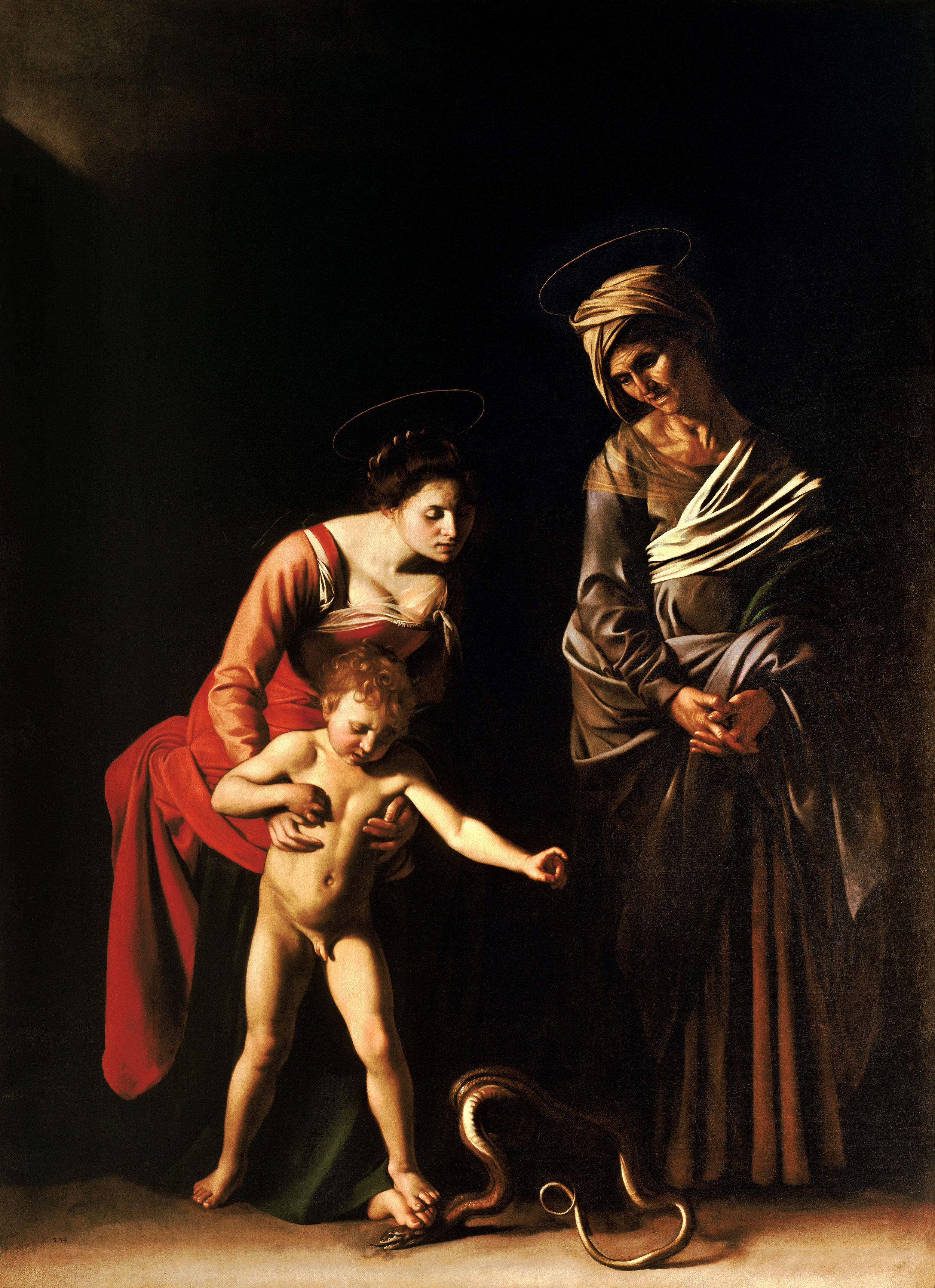 Madonna and Child with St. Anne   by Caravaggio, 1606.