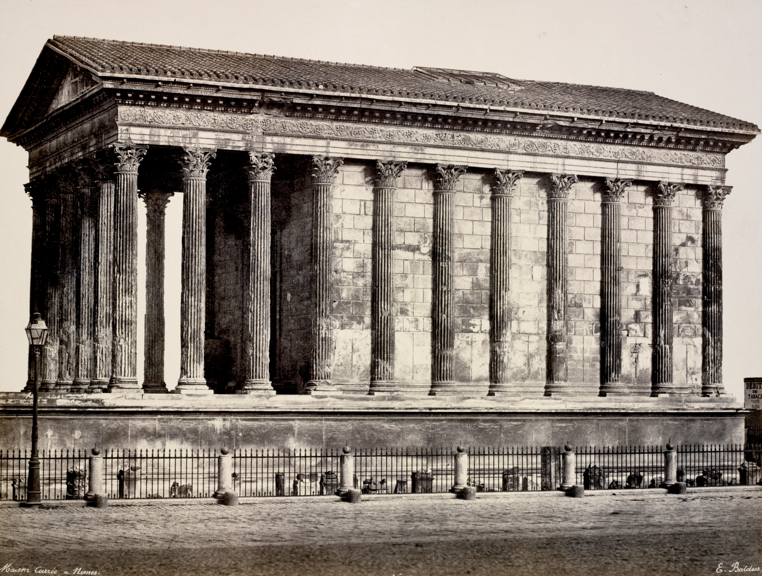 Maison Carreé à Nimes by Edouard Baldus (1813-1889), public domain via  New York Public Library Digital Collections .