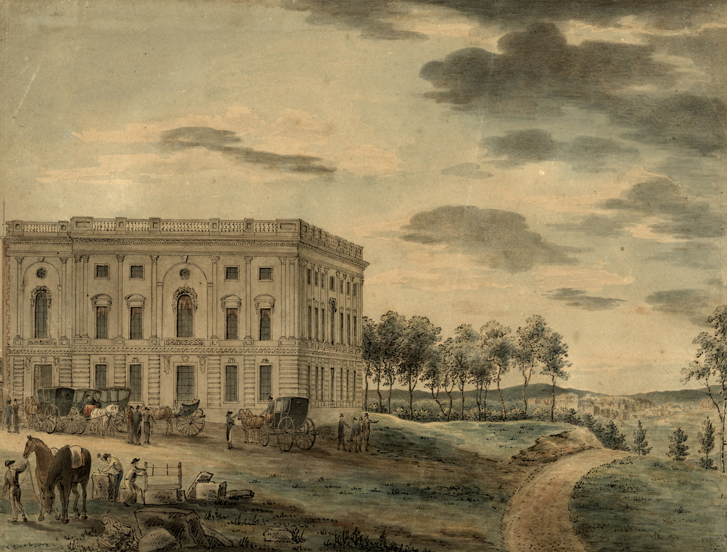 """From the Library of Congress: """"This famous watercolor view by William Birch shows the only section of the Capitol that had been completed when the government moved to Washington in 1800. Workmen are still cutting stones in the left foreground, and the city can be seen in the distance on the right."""""""