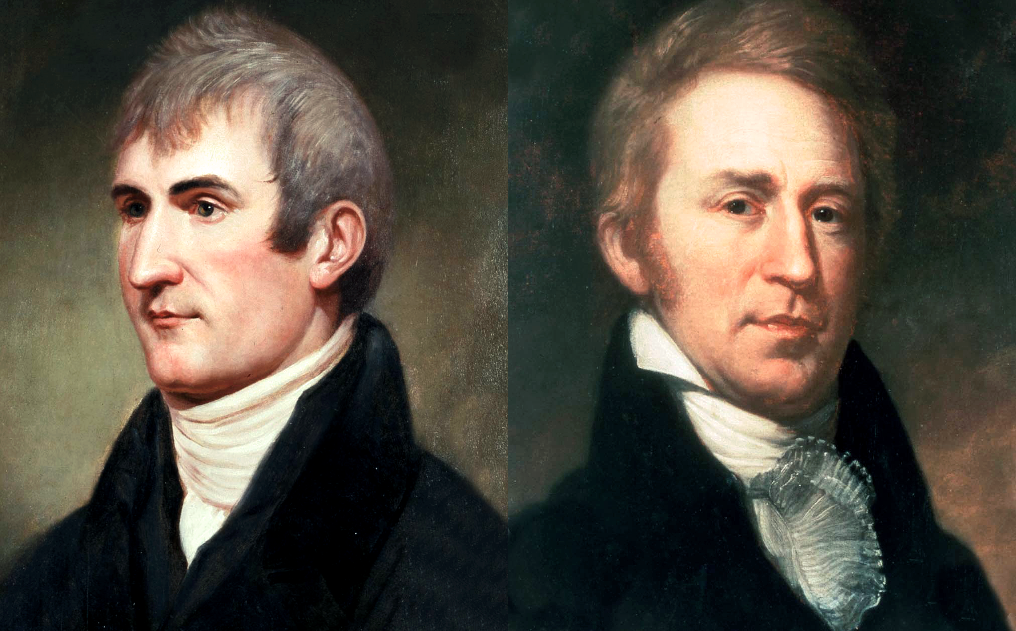 Meriweather Lewis  and  William Clark . Portraits by Charles Willson Peale, c. 1807-1810. Public domain images from Wikimedia.