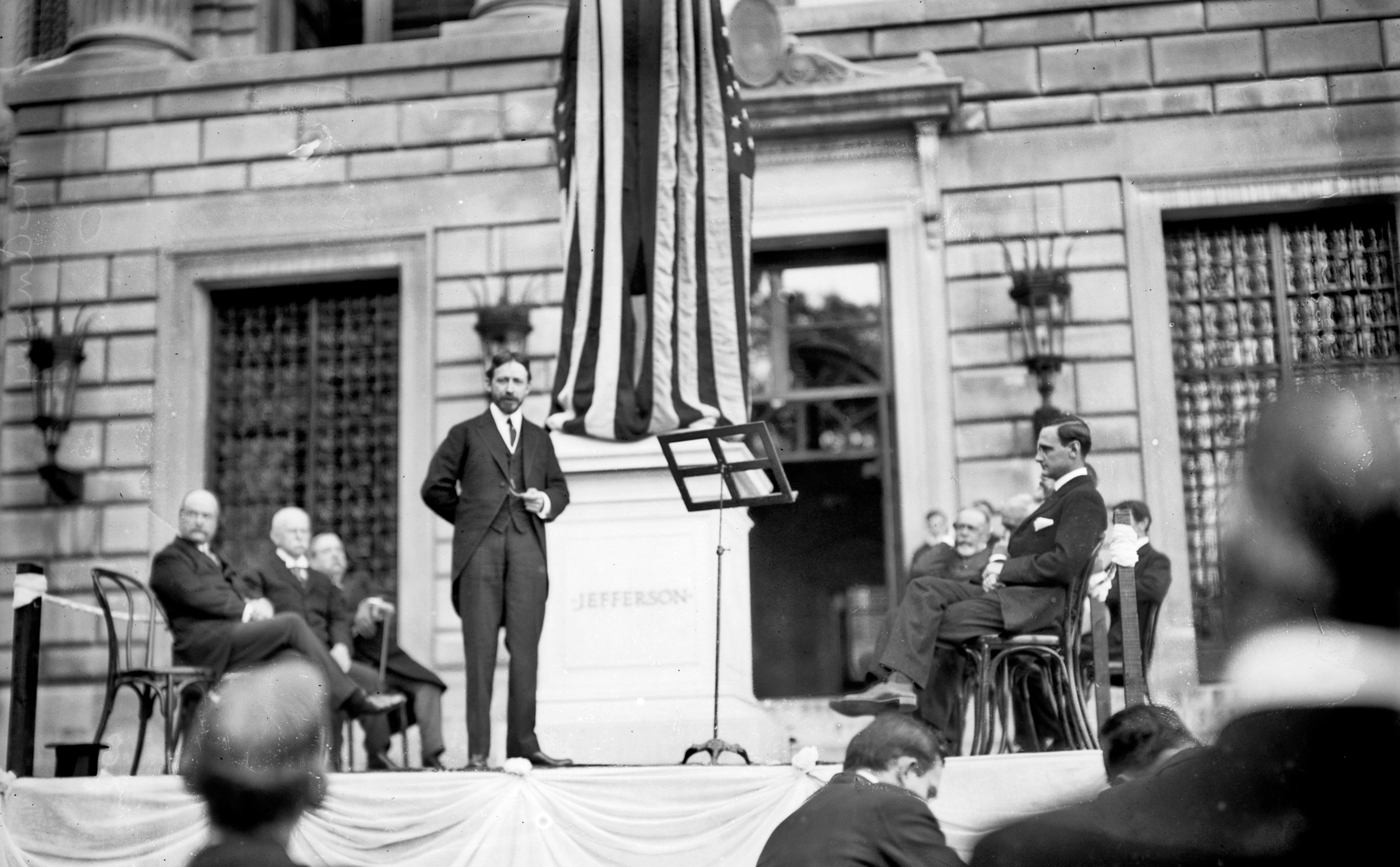 New York Times executive manager George McAneny speaks at Columbia's Jefferson statue unveiling, 2 June 1914. From the  Library of Congress .