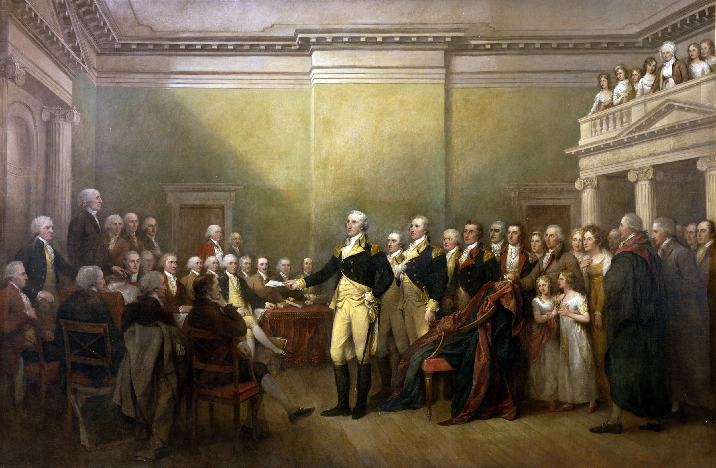 General George Washington Resigning His Commission  by John Trumbull, commissioned in 1817. From  Wikimedia Commons .
