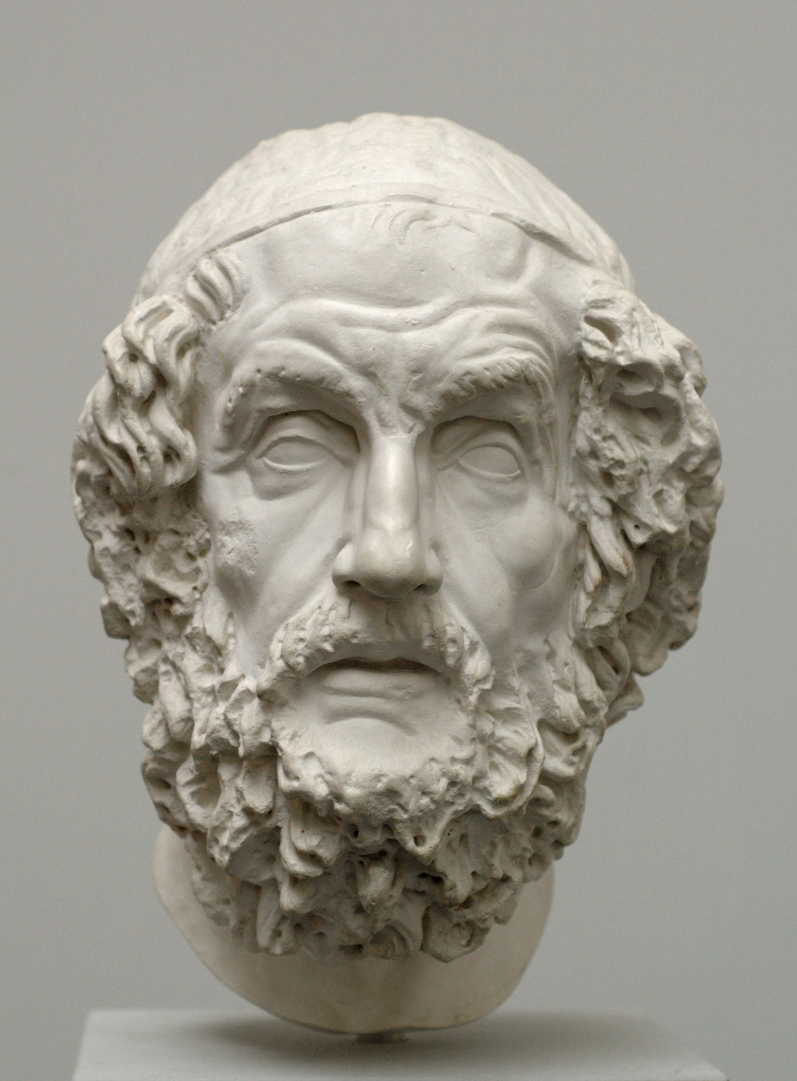 Bust of Homer, Hellenistic period. Modern copy after an original in the National Archaeological Museum of Naples. Photograph by Bibi Saint-Pol, 2007. Public domain via  Wikimedia Commons .