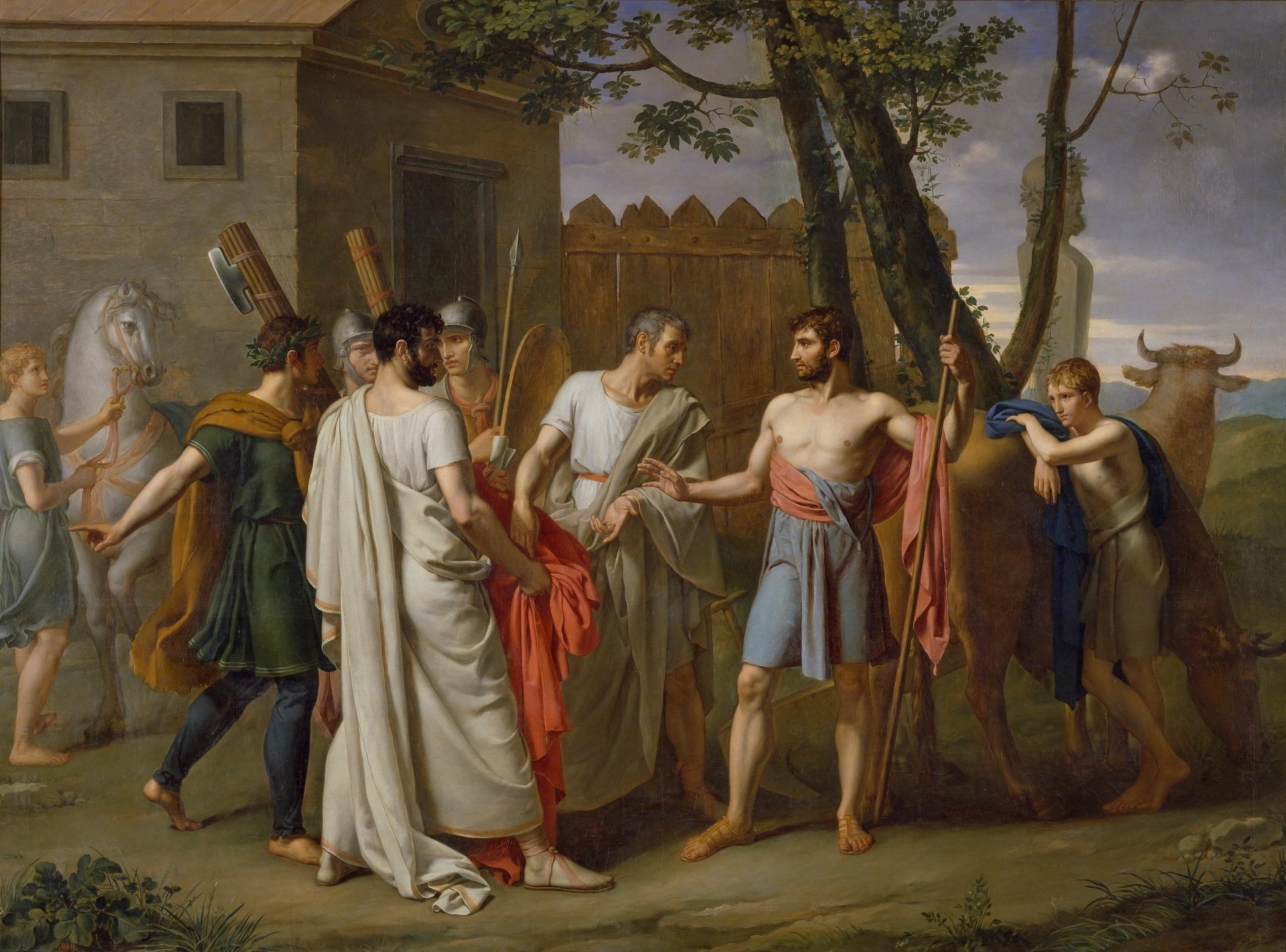 Cincinnatus Leaves the Plough to Dictate Laws to Rome , Juan Antonio Ribera c. 1806. Public domain from  Wikimedia Commons .