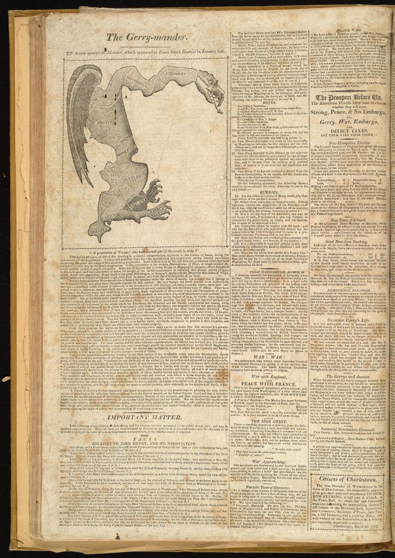 """""""The Gerry-Mander,""""Boston Gazette, 26 March 1812, from  Wikimedia Commons ."""