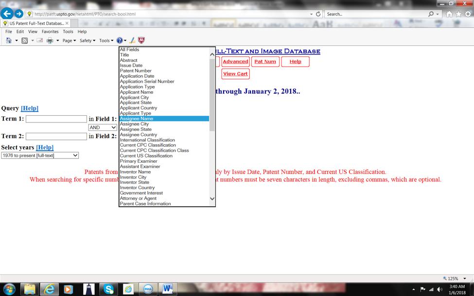 USPTO Screenshot 1 - Assignee Name