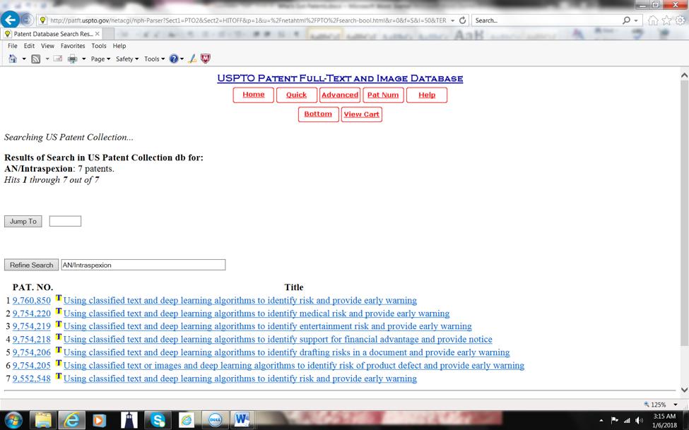 USPTO Screenshot 3 - Intraspexion