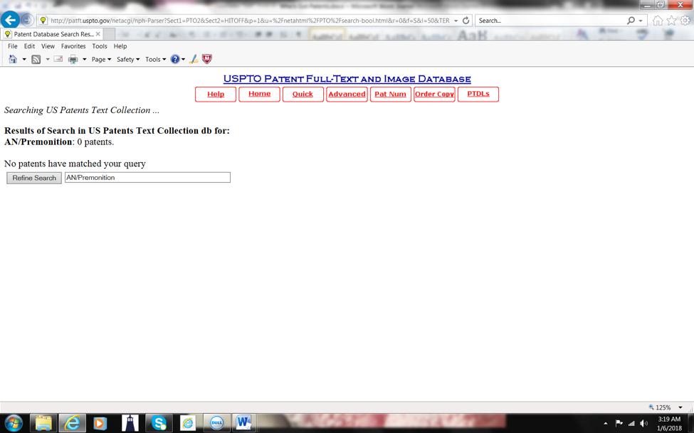 USPTO Screenshot 6 - Premonition