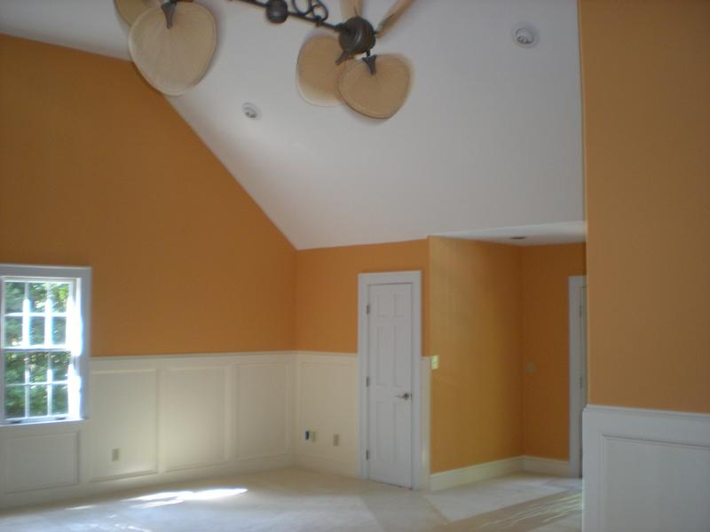 Interior painting project of a dull and outdated large space to bright and clean play room.