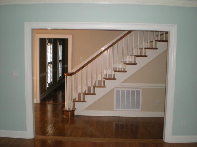 Interior painting project that includes a whole home renovation and a new stain on the banister.