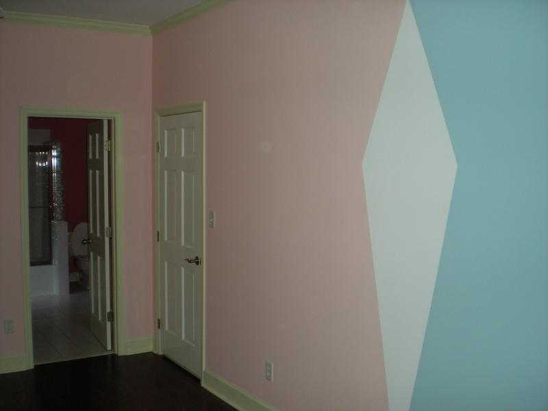Interior painting of girl's room with wall design in Evans, Georgia.