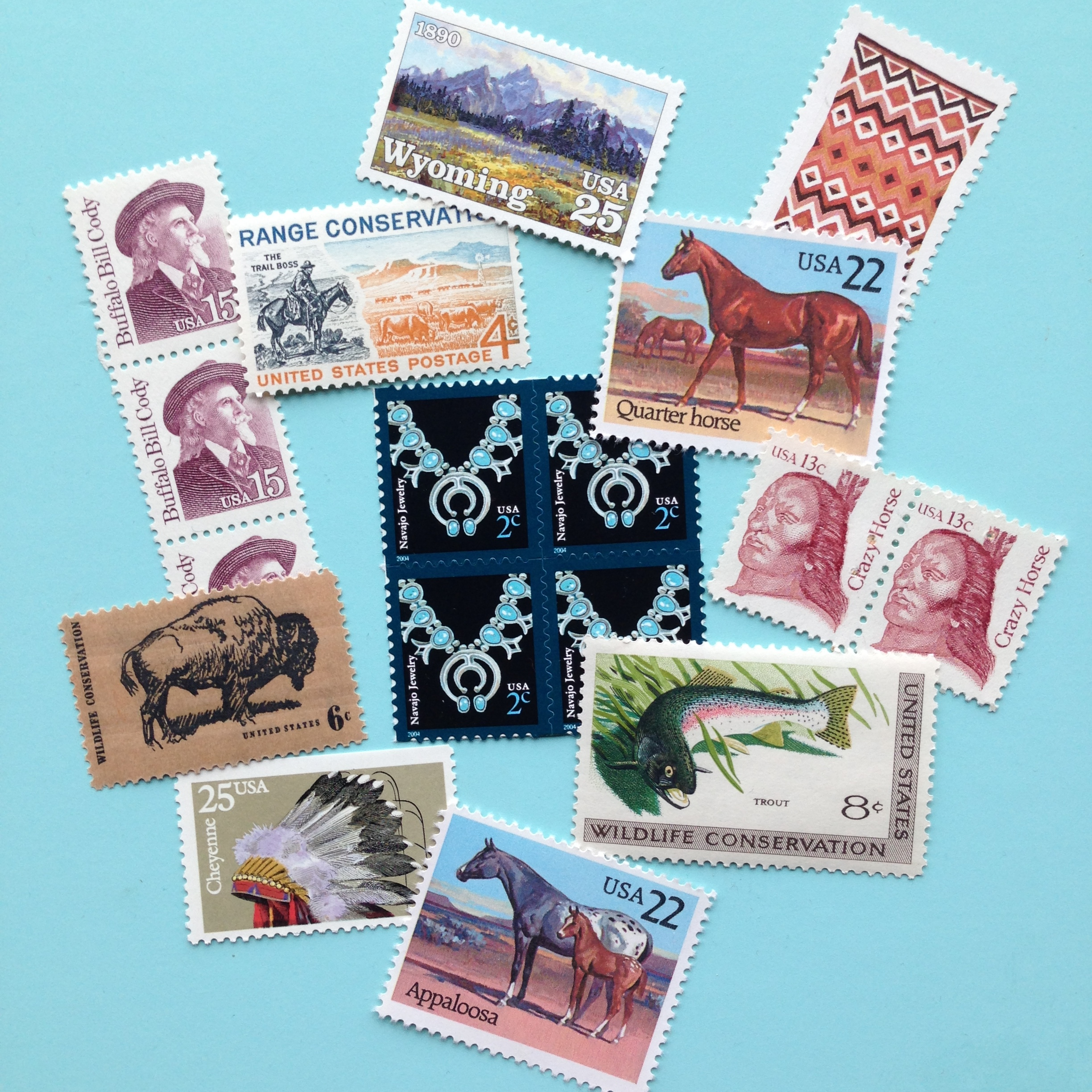 Some of the stamps I collected for our wedding invitations - picked for their thematic relevance to our Cody, WY wedding.