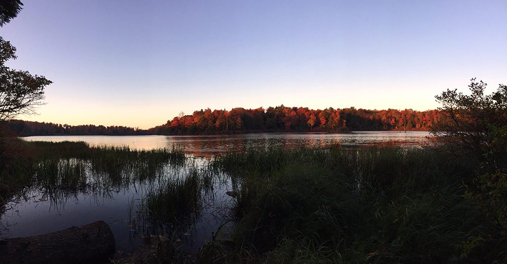 Sunset on the lake at Ricketts Glen. The red color was magnificent.