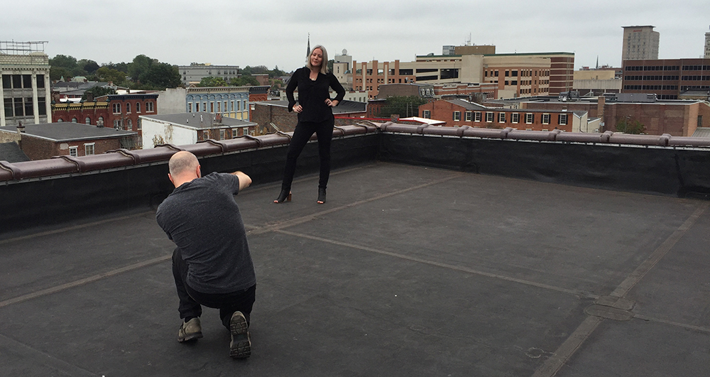 Photographing Anne on the rooftop of the Candy Factory in downtown Lancaster, PA.