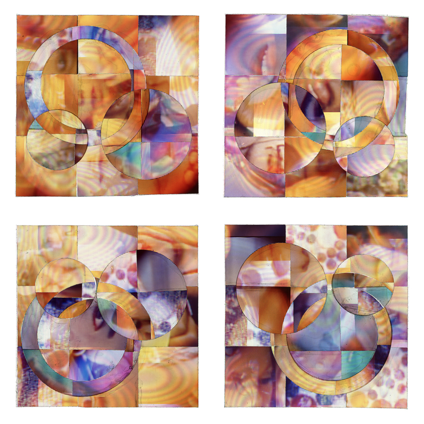 The pieces in COLOR ZEN #15-20 have a bilateral symmetry along with interchanged circular pieces that look quite elegant when placed in a quad formation, or even as a horizontal quadtych.