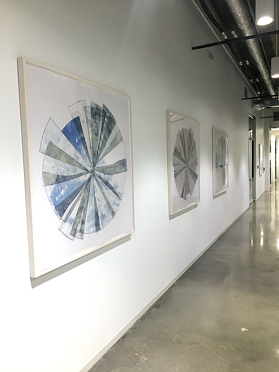 """Radiance 1-4 , installation shot from corporate client in Houston, TX. Client purchased a set of the 48""""x48"""" edition."""