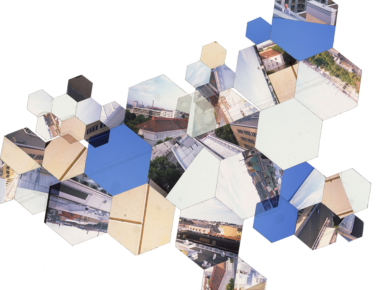 "HELSINKI, FINLAND: HEXAGON DERIVATIVE 1 • TWO EDITIONS: 16""X21"" & 30""x40"" • TRANSPARENCY FILM COMPOSITION"