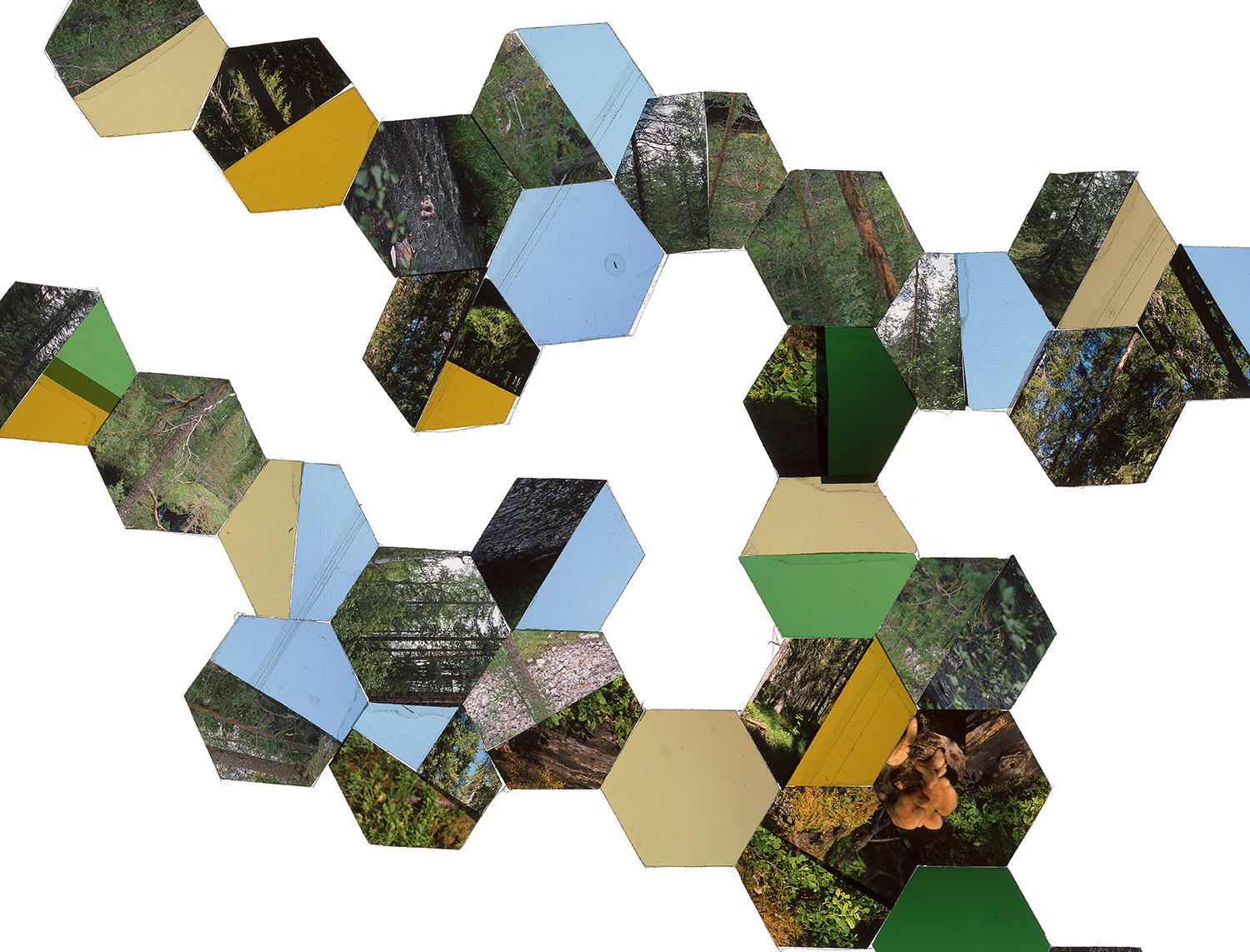 "HELSINKI, FINLAND: HEXAGON DERIVATIVE 6 • TWO EDITIONS: 16""X21"" & 30""x40"" • TRANSPARENCY FILM COMPOSITION"
