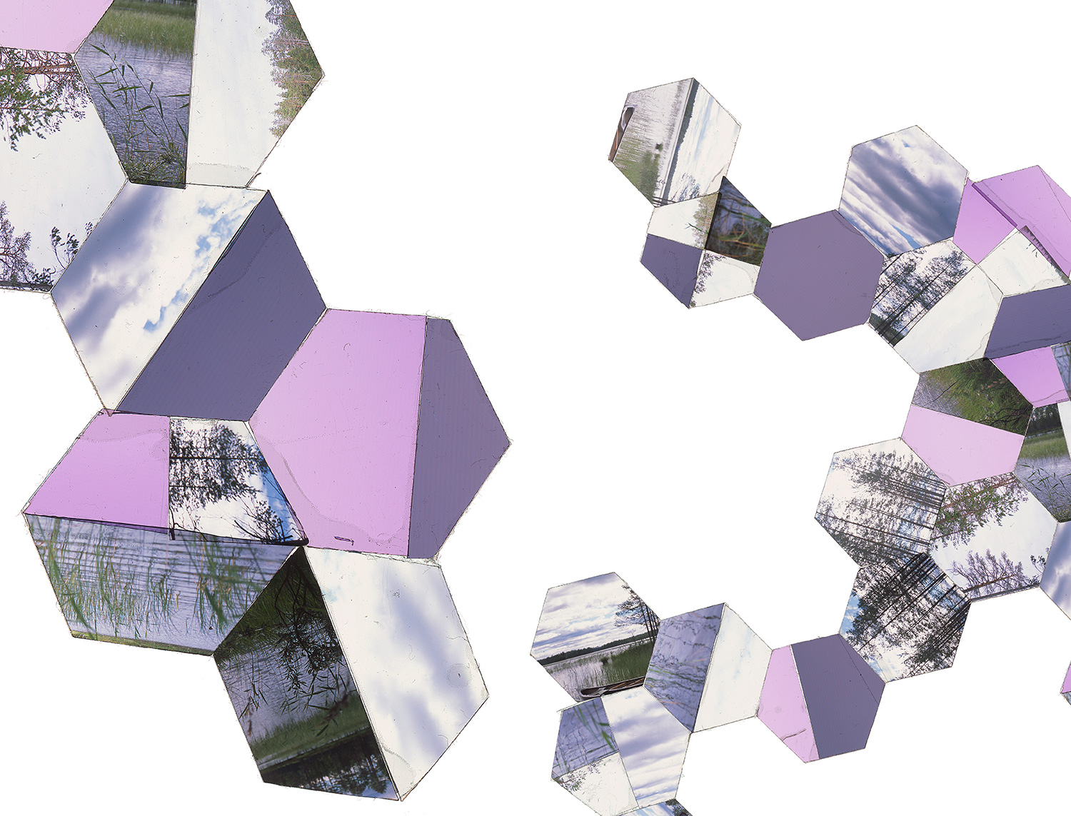 "HELSINKI, FINLAND: HEXAGON DERIVATIVE 7 • TWO EDITIONS: 16""X21"" & 30""x40"" • TRANSPARENCY FILM COMPOSITION"