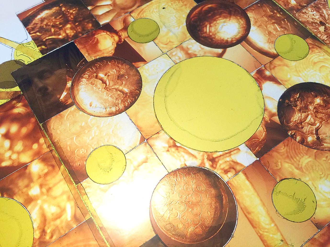 "Detail, Joya Del Oro  , Transparency film printed at 30""x30"", archival pigment on fuji metallic"