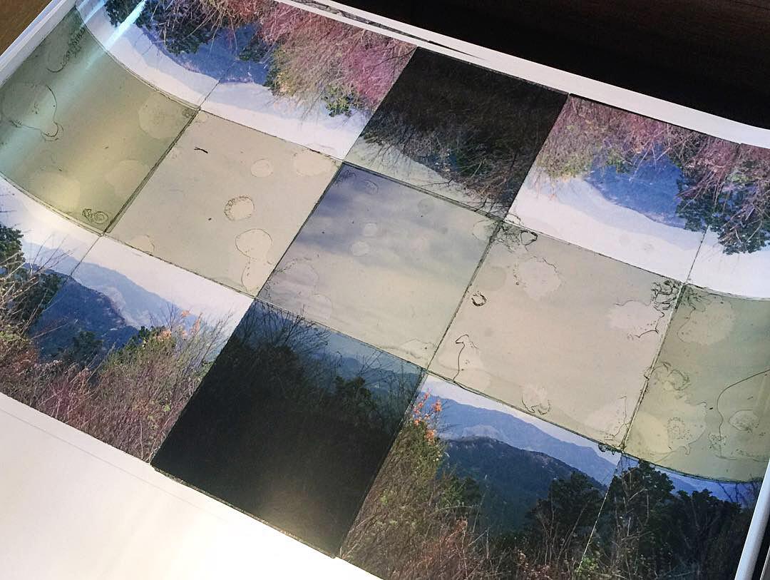 "Mt. Takao, 3  , Transparency film printed at 30""x30"", archival pigment on fuji metallic"