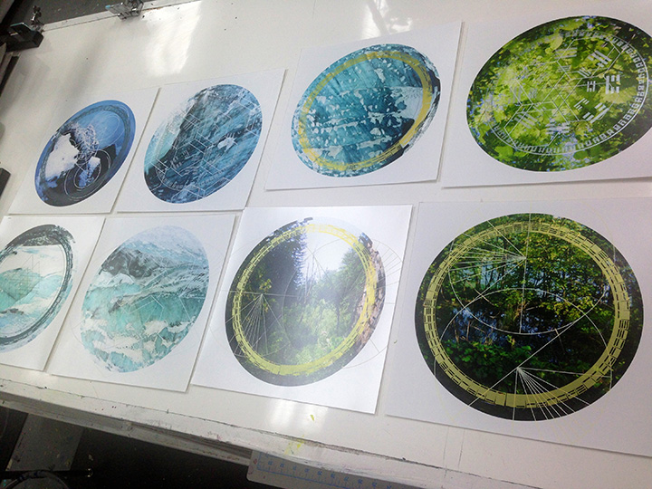 Screenprinting directly onto the transparency film prints.