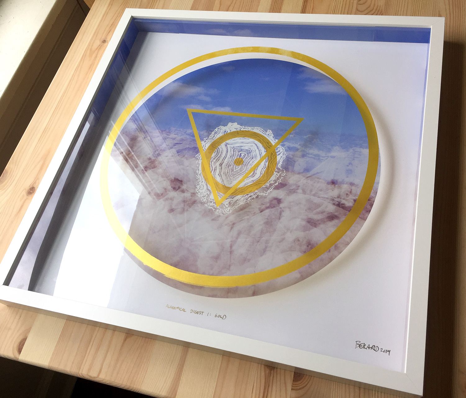 "ALCHEMICAL DIGEST 1: GOLD   •      20"" x 20"" x 2"" • SILKSCREEN ON PHOTO AND ACRYLIC, IN SHADOWBOX • 2019"