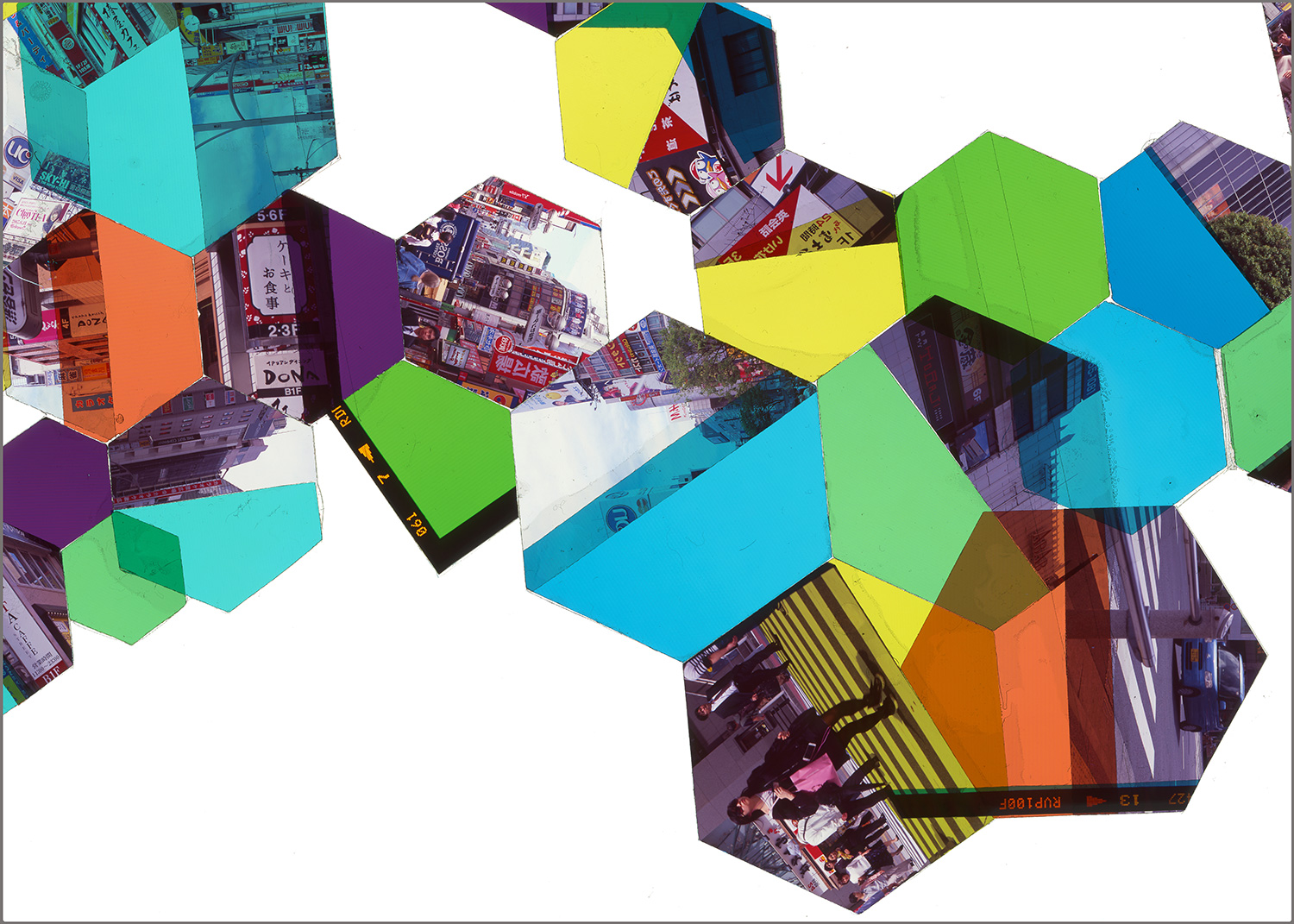 "TOKYO, JAPAN: HEXAGON DERIVATIVE 1    • 20"" x 28""• GICLEE PRINT FROM TRANSPARENCY FILM COMPOSITION"