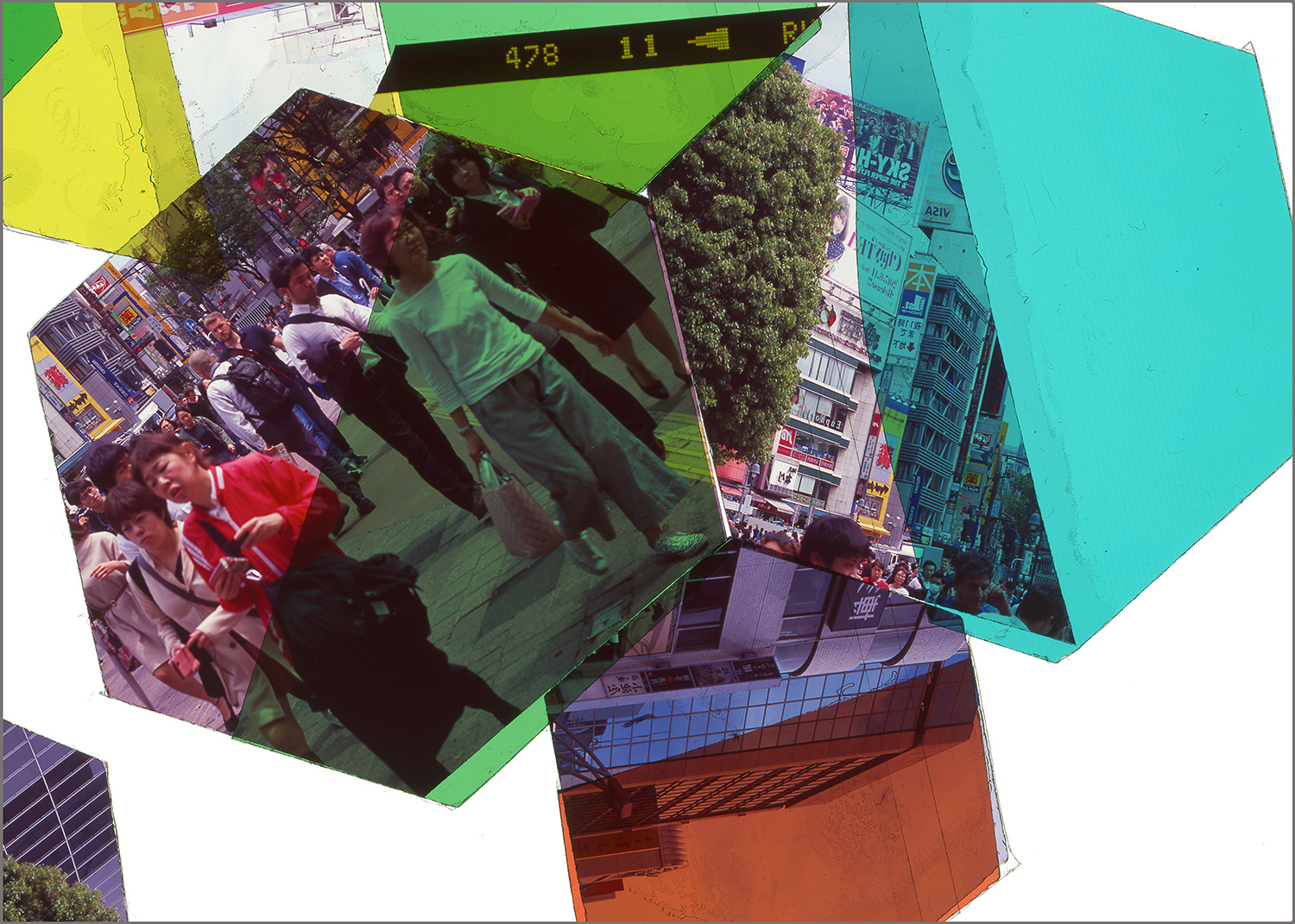 "TOKYO, JAPAN: HEXAGON DERIVATIVE 4    • 20"" x 28""• GICLEE PRINT FROM TRANSPARENCY FILM COMPOSITION"