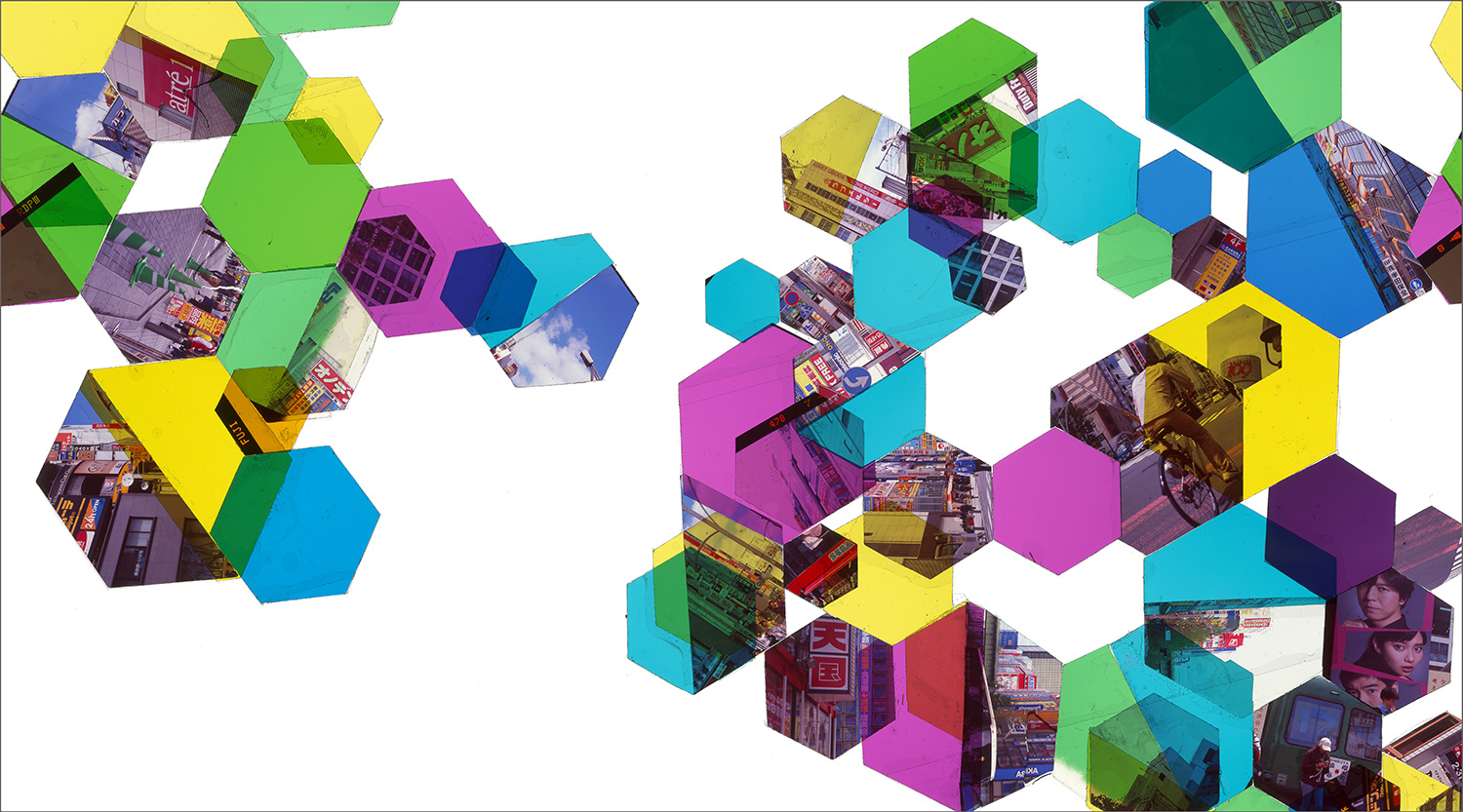 "TOKYO, JAPAN: HEXAGON DERIVATIVE B (FULL COMPOSITION)    • 28"" x 50""• GICLEE PRINT FROM TRANSPARENCY FILM COMPOSITION"
