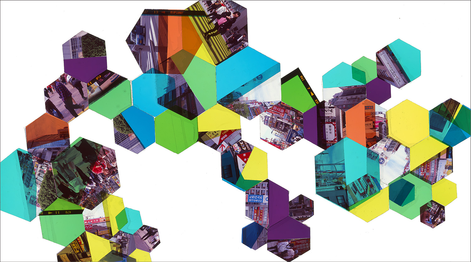"TOKYO, JAPAN: HEXAGON DERIVATIVE A (FULL COMPOSITION)    • 28"" x 50""• GICLEE PRINT FROM TRANSPARENCY FILM COMPOSITION"