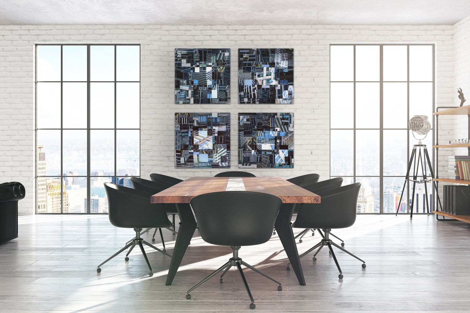 """MASSING 1-4   IN QUAD FORMATION, ACRYLIC MOUNTED PRINTS FROM TRANSPARENCY FILM, 52"""" x 52"""" [4 PIECES 24"""" x 24""""]"""