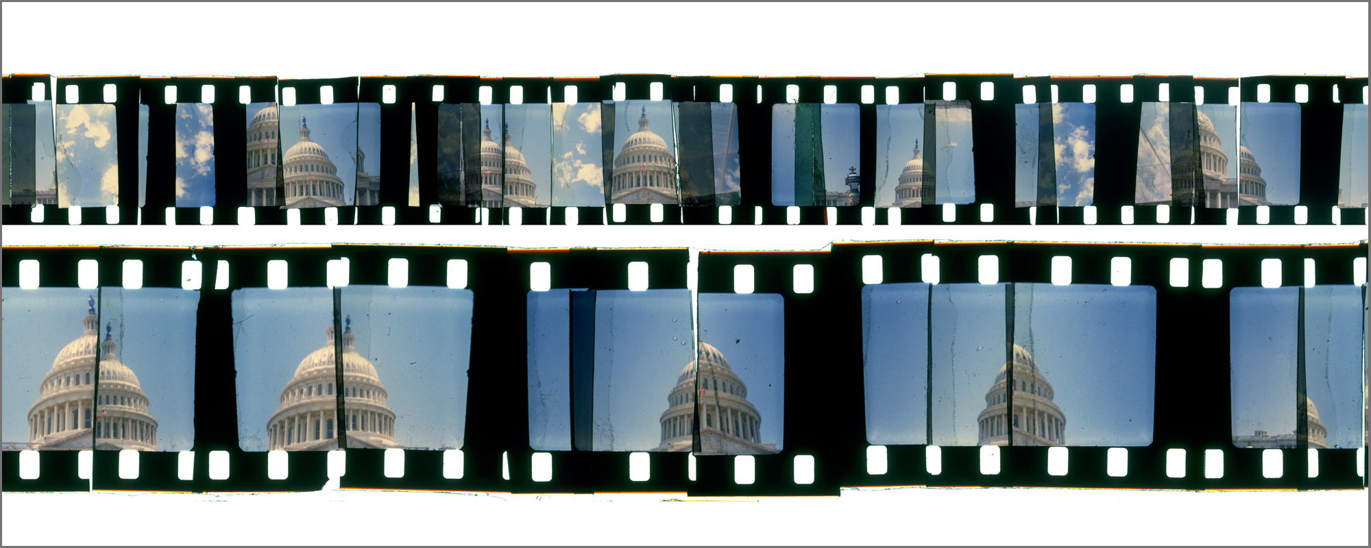 """WASHINGTON CUTUP 1  , ACRYLIC MOUNTED PRINT FROM 16MM TRANSPARENCY FILM COMPOSITION, 20"""" x 50"""", EDITION OF 5"""
