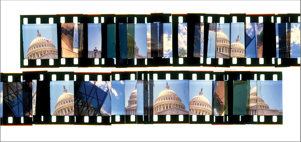"""WASHINGTON CUTUP 3  , ACRYLIC MOUNTED PRINT FROM 16MM TRANSPARENCY FILM COMPOSITION, 20"""" x 42"""", EDITION OF 5"""
