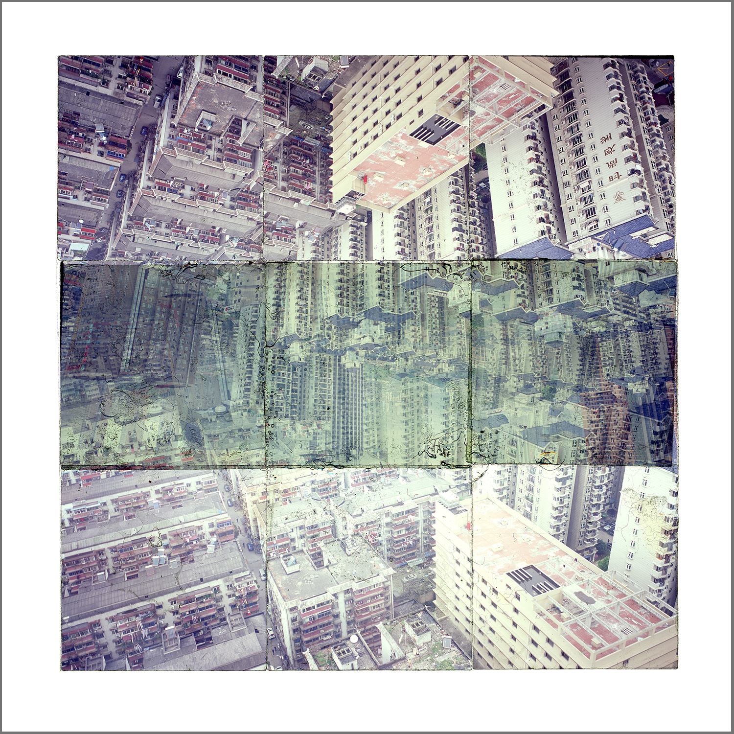 """WUHAN, CHINA 1  , GICLEE PRINT FROM TRANSPARENCY FILM COMPOSITION - 24"""" x 24"""" - 2018"""