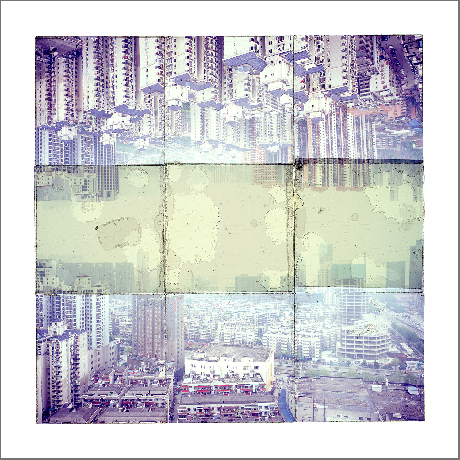 """WUHAN, CHINA 2  , GICLEE PRINT FROM TRANSPARENCY FILM COMPOSITION - 24"""" x 24"""" - 2018"""