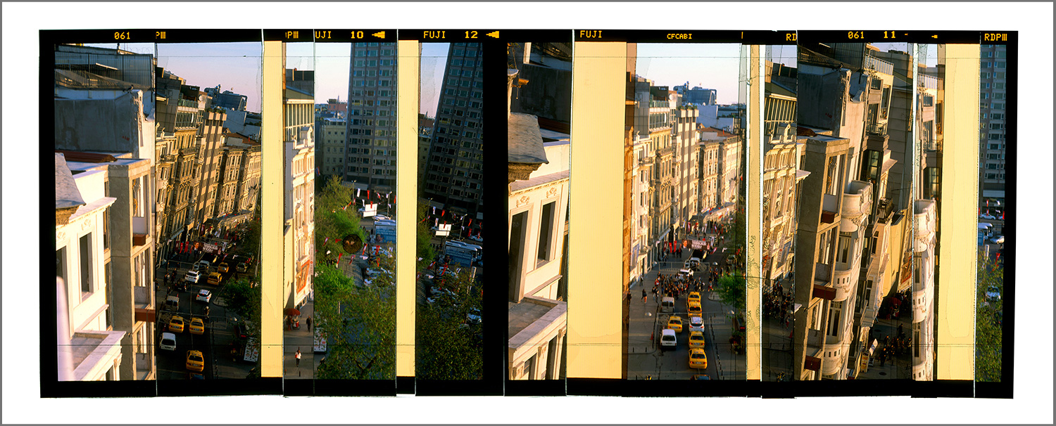 """ISTANBUL, TURKEY AT DUSK  , GICLEE PRINT FROM TRANSPARENCY FILM COMPOSITION - 20""""x48"""" - 2015"""
