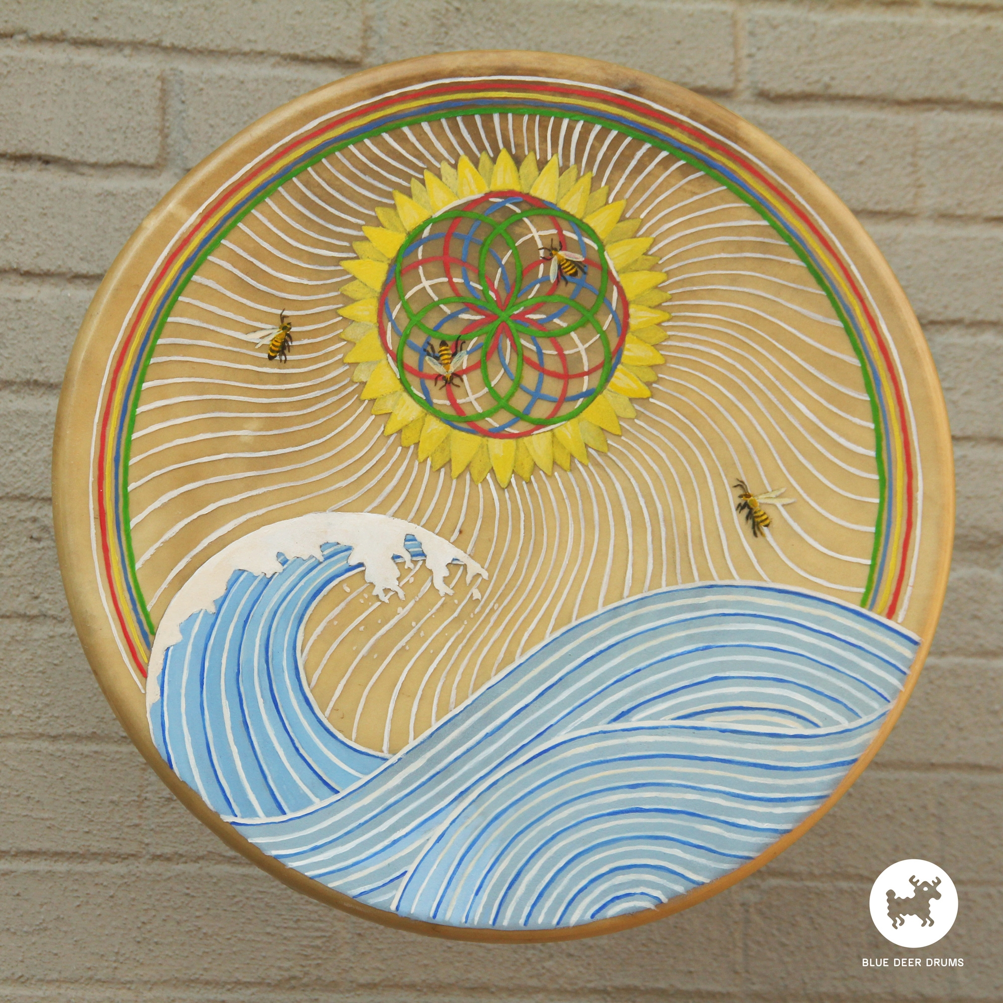 blue-deer-drums-painting-brooklyn-shamanic-sound-healing-bath-workshop-bag-ceremony-drumstick-spirit-bees-wave-ocean