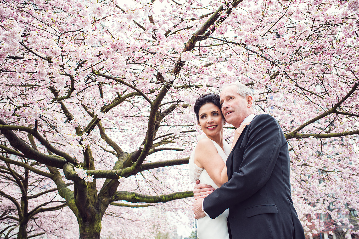bride-and-groom-cherry-blossoms-vancouver-wedding-yaletown-photography-photo
