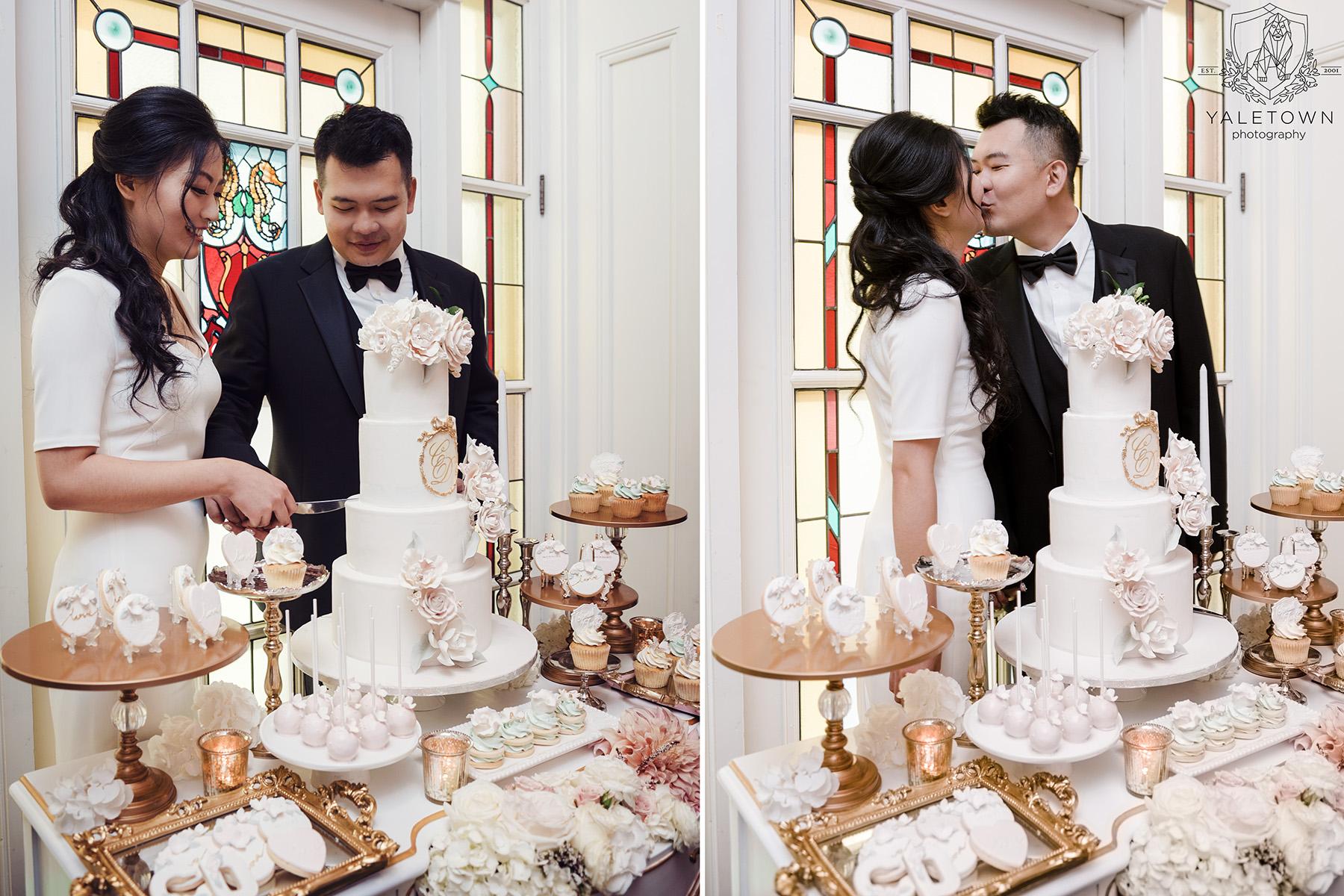 Wedding-Cake-Cutting-Bride-Groom-Rosewood-Hotel-Georgia-Vancouver-Wedding-Yaletown-Photography-photo