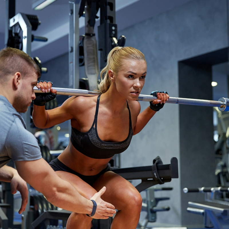 Back barbell squats for belly fat burning